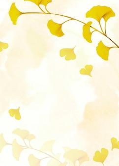 Fundo com moldura de folha amarela de ginkgo