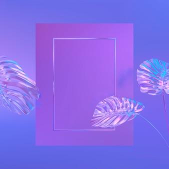Fundo com moldura retangular em um tropical deixa. textura holográfica da iridesence. luz de neon violeta.