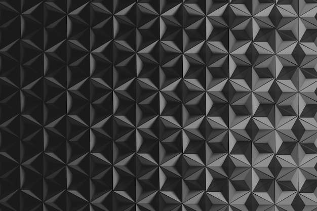 Fundo com muitas pirâmides invertidas repetidas em monocromático escuro