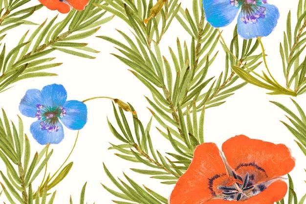 Fundo com padrão de flor de lírio mariposa remixado de obras de arte de domínio público