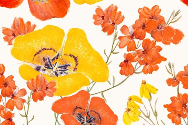 Fundo com padrão de flor de lírio mariposa, remixado de obras de arte de domínio público