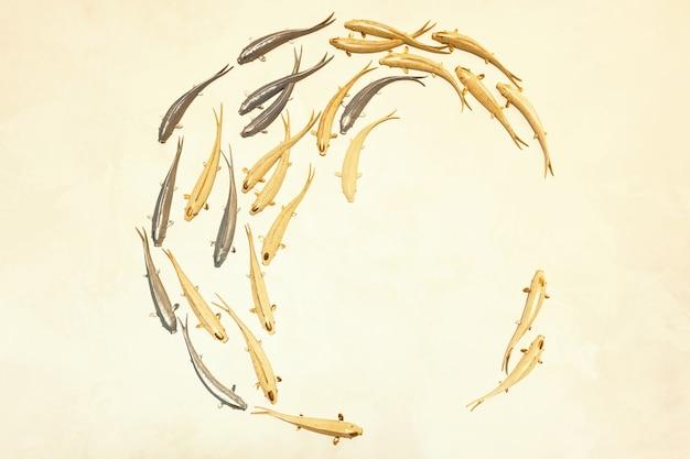 Fundo com peixes dourados e prateados nadando em um círculo peixes decorativos de gesso