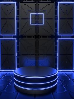 Fundo com pódio 3d abstrato com preto néon sexta-feira azul