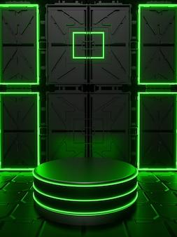 Fundo com pódio 3d abstrato com preto neon verde sexta-feira