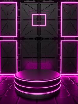 Fundo com pódio 3d abstrato com rosa neon preto sexta-feira