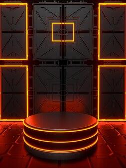 Fundo com pódio 3d abstrato com vermelho preto neon sexta-feira