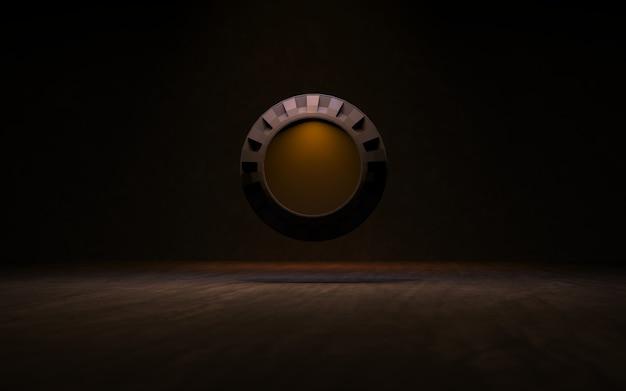 Fundo com renderização 3d de anéis de iluminação
