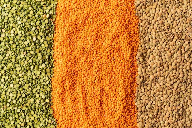 Fundo com sementes de lentilhas da planta de leguminosas anuais, eles são ricos em proteínas vegetais.