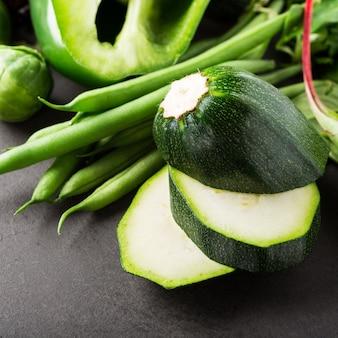 Fundo, com, sortido, verde, legumes