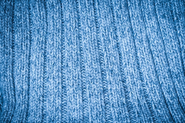 Fundo com tecido de lã tricotado azul