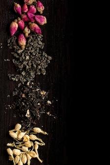 Fundo com variação de chá seco