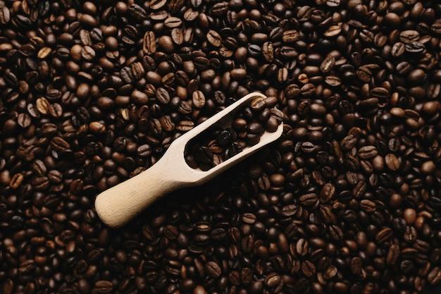 Fundo com variedade de grãos de café secos e colher