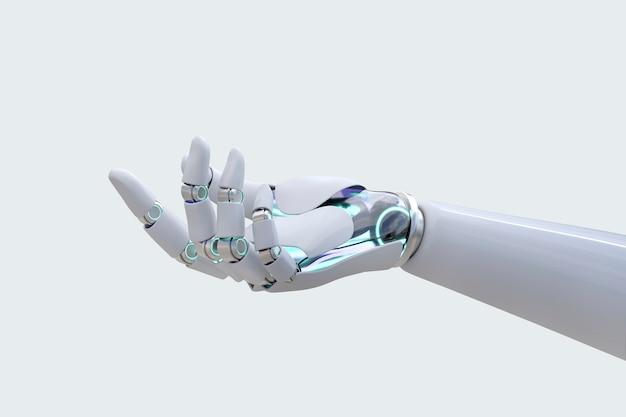 Fundo com vista lateral da mão do robô, apresentando gesto de tecnologia