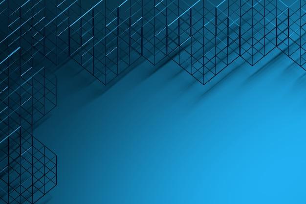 Fundo com wireframes cúbicos sobre o fundo azul.