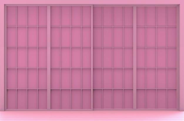 Fundo cor-de-rosa doce da parede da porta do estilo japonês.
