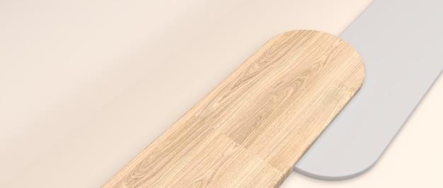 Fundo cosmético mínimo para apresentação do produto. textura off-white e de madeira sobre fundo creme, renderização em 3d