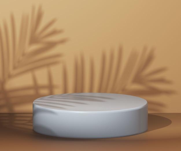 Fundo cosmético para pódio de apresentação de produto na cena da parede com sombra de folhas tropicais