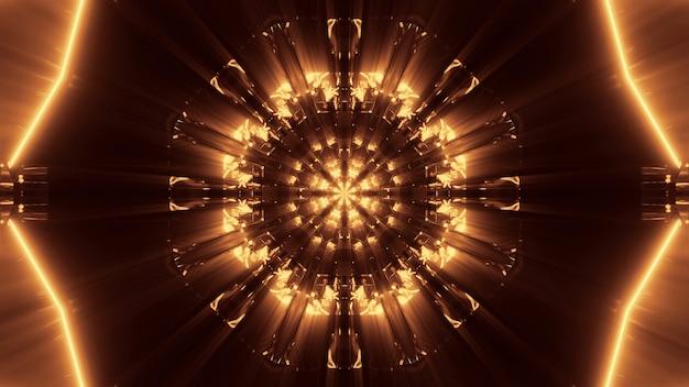Fundo cósmico com luzes de laser douradas