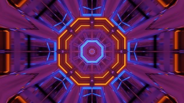 Fundo cósmico com luzes de laser rosa laranja e azul - perfeito para um papel de parede digital