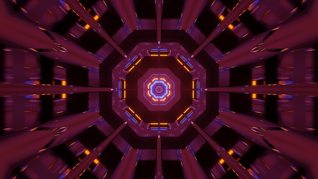 Fundo cósmico com luzes de laser rosa laranja e azul