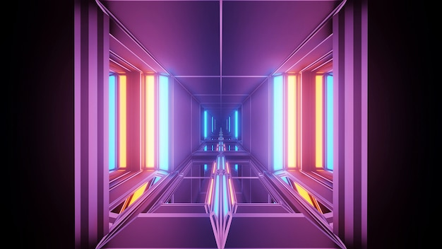 Fundo cósmico com luzes laser geométricas coloridas
