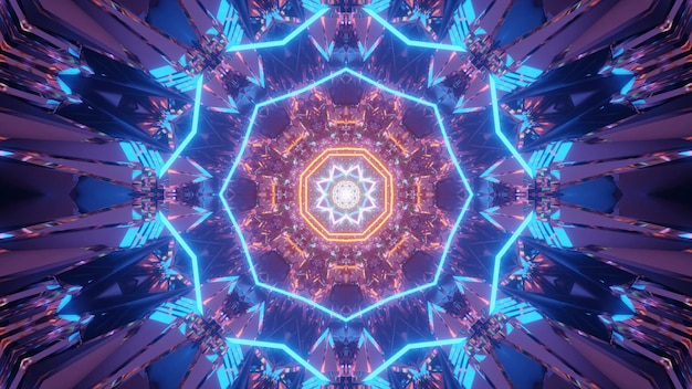 Fundo cósmico com padrões de luzes laser azuis e laranja - perfeito para um papel de parede digital