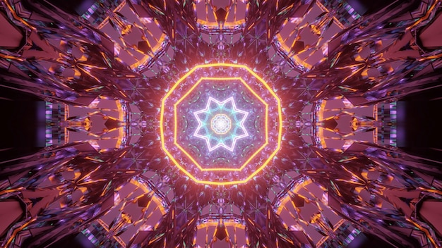 Fundo cósmico com padrões de luzes laser laranja e azul - perfeito para um papel de parede digital