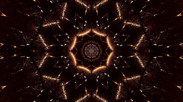 Fundo cósmico de luzes de laser marrom e dourado
