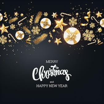 Fundo criativo, beira decorativa do natal feita de elementos festivos em um fundo claro.