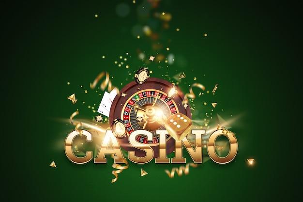Fundo criativo, casino inscrição, roleta, dados de jogo, cartões, fichas de casino em um fundo verde