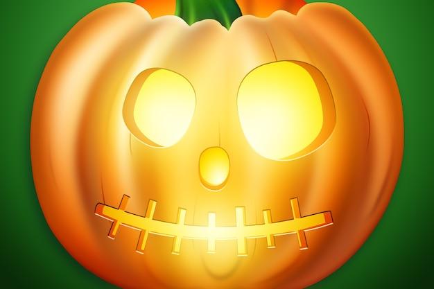 Fundo criativo de halloween. abóbora sobre um fundo verde.