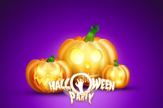 Fundo criativo de halloween. letras de festa de halloween e imagem de abóbora.