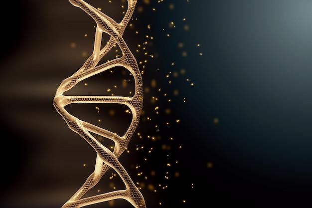 Fundo criativo, estrutura de dna, molécula de dna dourada sobre fundo cinza, ultravioleta