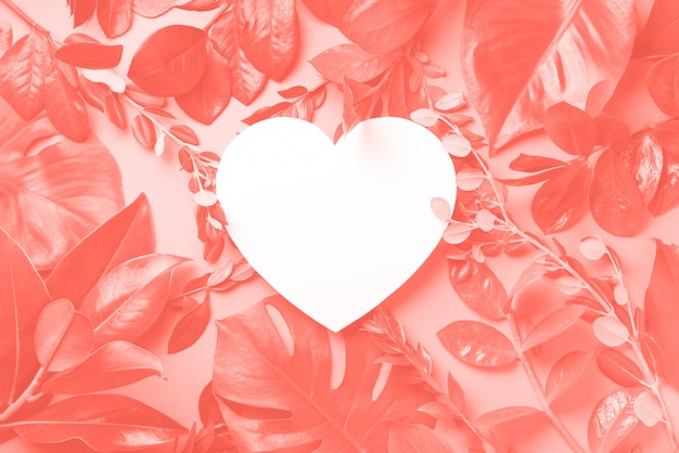 Fundo criativo feito de folhas tropicais, papel em forma de coração na cor coral. postura plana. vista do topo.