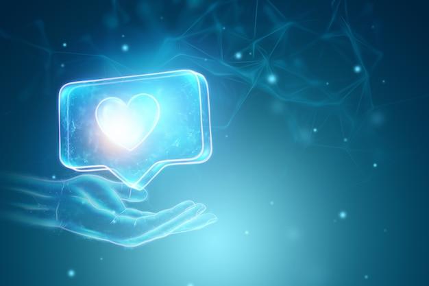 Fundo criativo, mão segurando como holograma de sinal sobre fundo azul. conceito de rede social. renderização 3d, ilustração 3d.