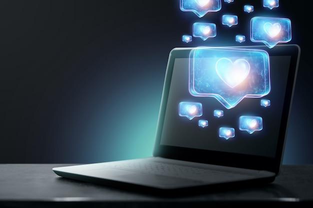 Fundo criativo, muitos gostos saem do laptop. o conceito de redes sociais, aprovação pública, monetização de conteúdo, vício em internet.