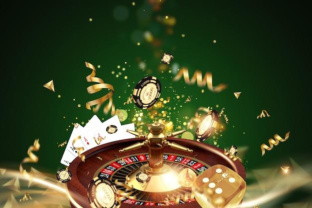 Fundo criativo, roleta, dados de jogos, cartas, fichas de casino em um fundo verde