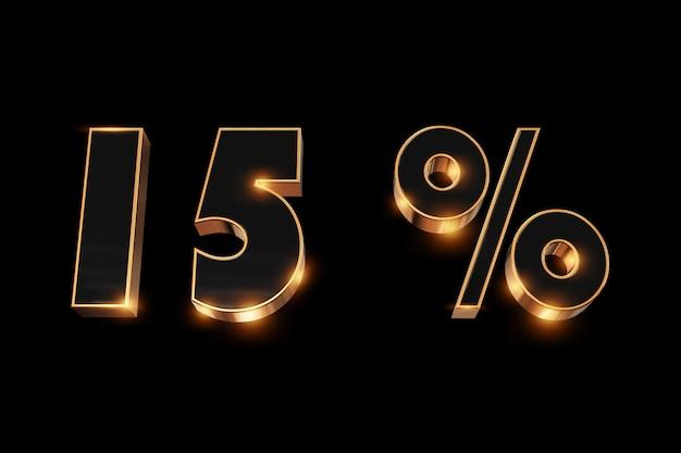 Fundo criativo, venda de inverno, 15 por cento, desconto, números de ouro 3d.