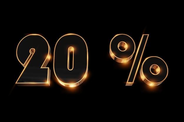 Fundo criativo, venda de inverno, 20 por cento, desconto, números de ouro 3d.