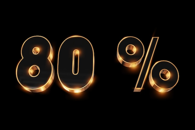 Fundo criativo, venda de inverno, 80 por cento, desconto, números de ouro 3d.