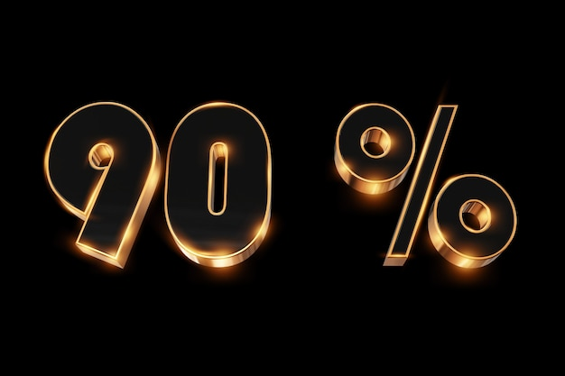 Fundo criativo, venda de inverno, 90 por cento, desconto, números de ouro 3d.