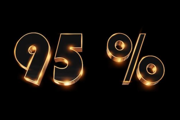 Fundo criativo, venda de inverno, 95 por cento, desconto, números de ouro 3d.