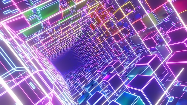 Fundo cyber electric space in cube box para papel de parede em cena cyberpunk retro e sci fi dos anos 90
