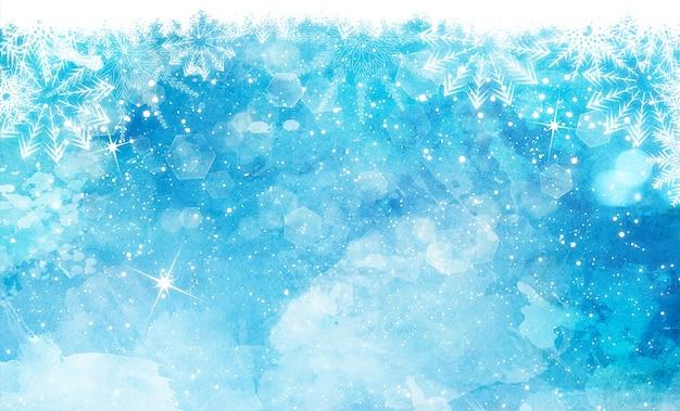Fundo da aguarela de natal com flocos de neve estrelas e luzes do bokeh