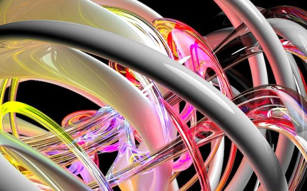 Fundo da arte 3d com parte do motor de turbina abstrato