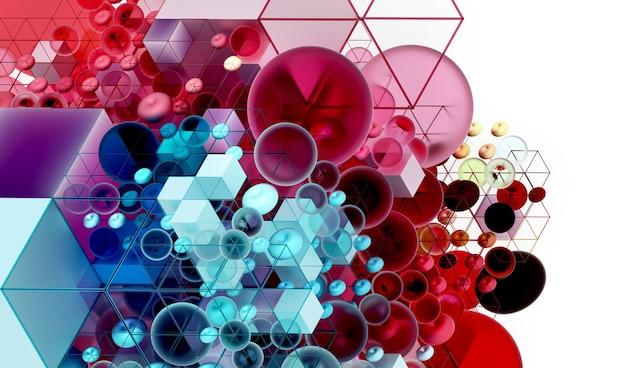 Fundo da arte abstrata 3d com parte do cubo baseado em pequenas bolas e caixas em estrutura de arame