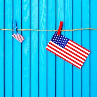 Fundo da bandeira americana no varal
