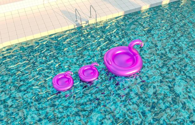Fundo da cena da piscina de verão com flaming flaming flaming pink flutuante