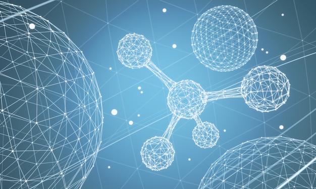 Fundo da ciência com molécula ou átomo, estrutura abstrata para a ciência ou fundo médico, ilustração 3d.