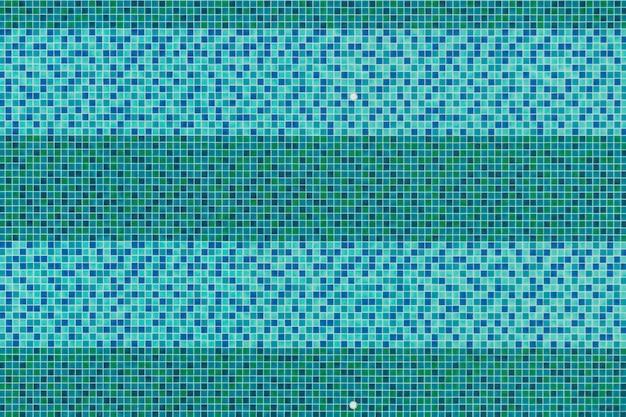 Fundo da opinião superior da piscina, mosaico azul e verde de aquas do azulejo na piscina.